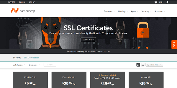 NameCheap - Trusted SSL Certificate Store